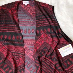 LuLaRoe Joy Vest // Paisley Print Black & Red XL